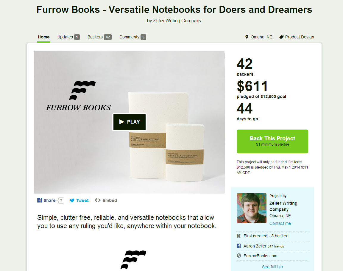 Furrow Books - Versatile Notebooks for Doers and Dreamers by Zeller Writing Company — Kickstarter