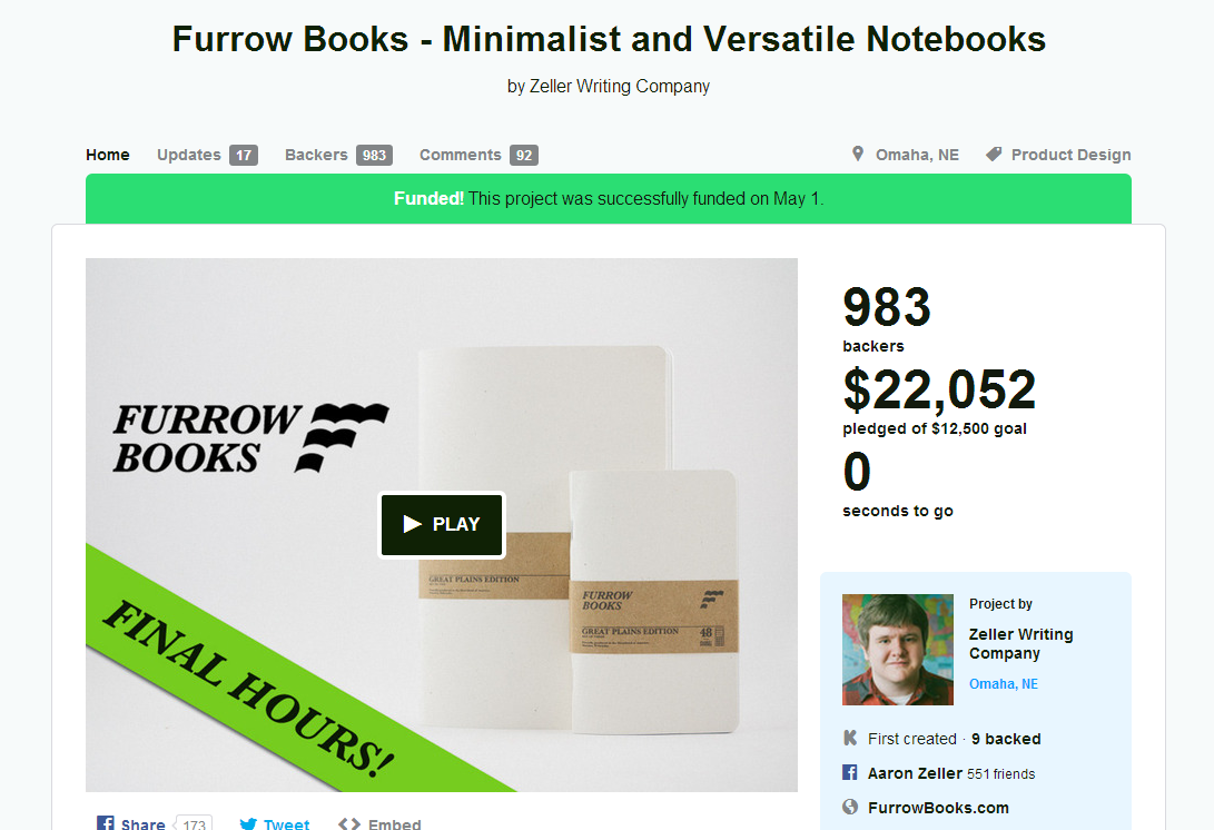 Furrow Books - Minimalist and Versatile Notebooks by Zeller Writing Company — Kickstarter (1)